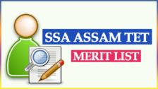 SSA Assam TET Merit List 2020