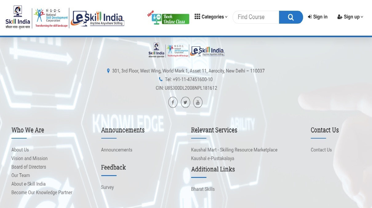 Contact for eSkillindia Courses List