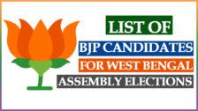 BJP Candidates List 2021 West Bengal Election