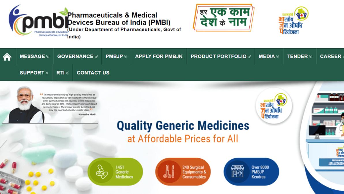 PM Bhartiya Jan Aushadhi Pariyojana Homepage